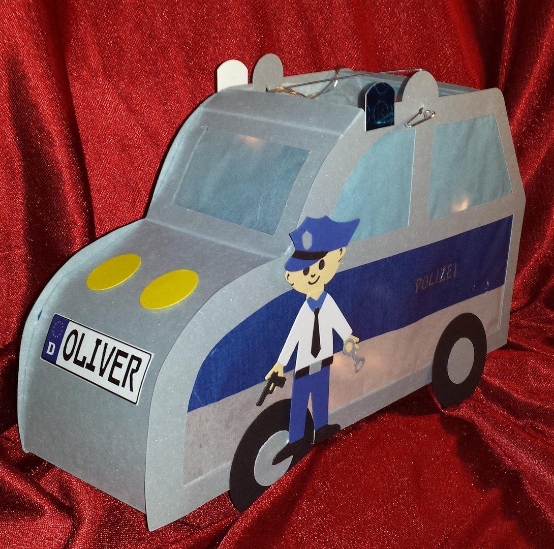 Bastelpackung Für Laterne Polizeiauto** Versch. Größen